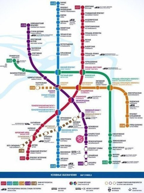 Новая схема метро Петербурга