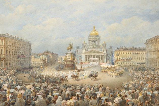 Торжественное открытие памятника императору Николаю I на Мариинской площади 25 июля 1859 г.